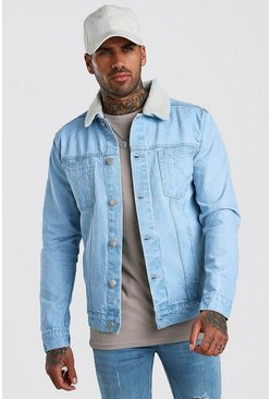 Denim Western Trucker With Borg Collar, Light blue