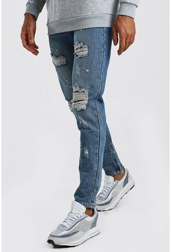 Mid blue Skinny Rigid Ripped Jeans With Bleach Splatter