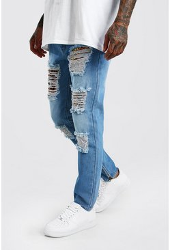 Skinny Rigid Jeans With Leopard Rip & Repair, Mid blue