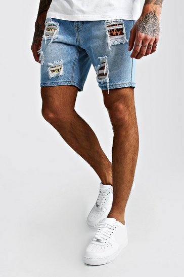 Mid blue Skinny Denim Shorts With Leopard Rip & Repair