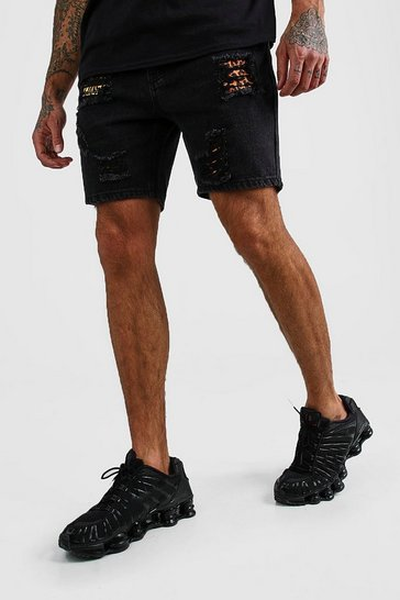 Black Skinny Denim Shorts With Leopard Rip & Repair