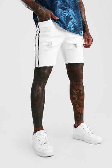 White Skinny Rigid Distressed Denim Shorts With Tape