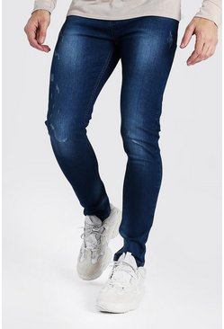 Washed indigo Skinny Jeans With Abraisions