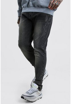 Charcoal Skinny Jeans With Abraisions