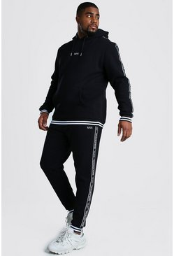 Black Big And Tall MAN Tape Tracksuit