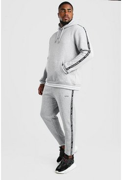 Grey marl Big And Tall MAN Tape Tracksuit
