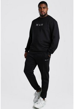 Black Big And Tall MAN Sweat and Jogger Set