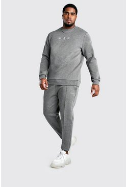 Conjunto de pantalones de correr y suéter MAN Big And Tall, Gris marengo