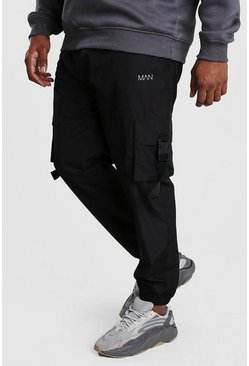 Black Big And Tall MAN Dash Buckle Joggers