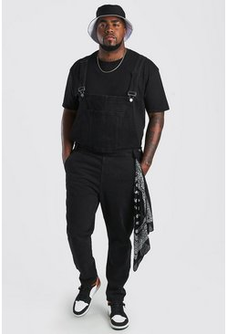 Washed black Big And Tall Bandana Detail Dungaree
