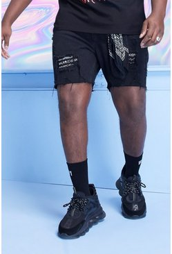 Shorts denim de corte holgado de bandana Big And Tall, Negro desteñido