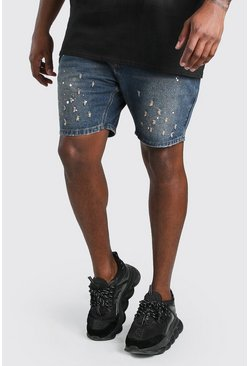 Dark wash Big & Tall Slim Fit Denim Paint Splatter Short