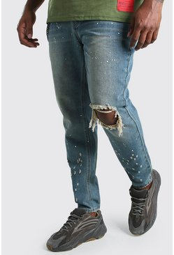 Jeans skinny con rodillas rasgadas Big And Tall, Lavado medio