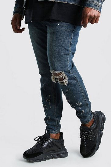 Dark wash Big And Tall Skinny Fit Jean With Busted Knee
