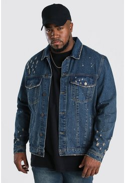 Giacca in denim Big And Tall con schizzi di vernice, Lavaggio scuro