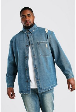 Big And Tall Longline Denim Overshirt , Mid wash
