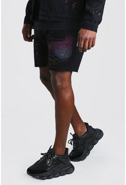Shorts de pintura en espray Slim Fit Big And Tall, Negro