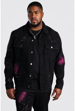 Big & Tall Jeansjacke mit Spray-Paint, Schwarz