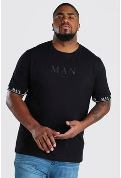Camiseta con puños con cinta romana MAN Big And Tall, Negro