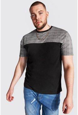 T-shirt colorblock Roman MAN big and tall, Noir