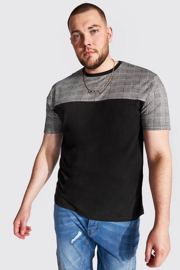 Black Big And Tall MAN Roman Colour Block T-Shirt