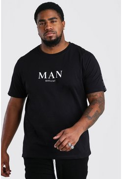 Black MAN Roman T-Shirt With Shoulder Tape