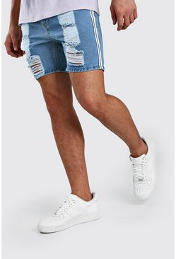 Light blue Skinny Rigid Distressed Denim Shorts With Tape