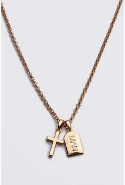 Gold MAN Dash Cross Pendant Necklace