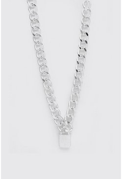 Silver MAN Dash Padlock Necklace