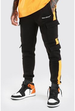 Black MAN Official Slim Fit Cargo Joggers