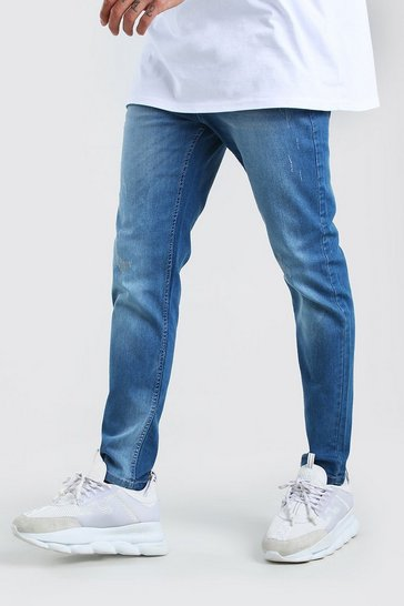 Mid blue Skinny Jeans With Abrasions