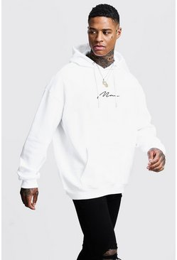 Sweat à capuche oversize à enfiler signature MAN, Blanc