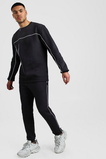 Charcoal Sweater Tracksuit With Contrast Piping