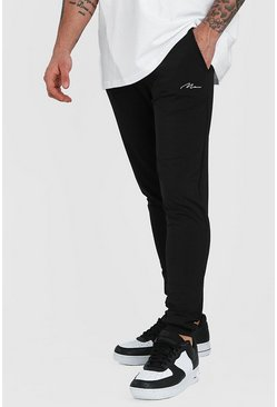 MAN Signature Poly Skinny Joggers With Cuff, Black