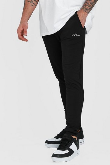 Black MAN Signature Poly Skinny Joggers