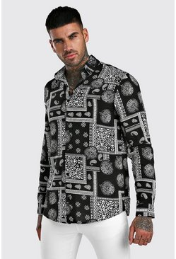 Black Long Sleeve Bandana Print Shirt In Viscose