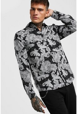 Black Long Sleeve Viscose Paisley Print Shirt