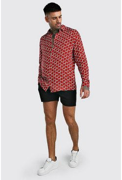 Red Long Sleeve Printed Shirt & Short Set In Viscose