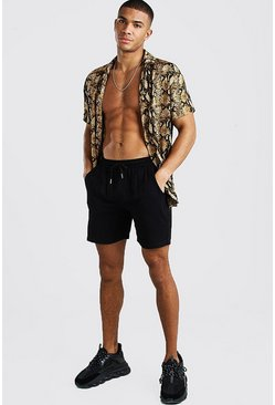 Revere Short Sleeve Viscose Print Shirt & Short Set, Gold