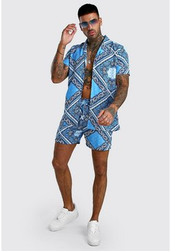 Blue Short Sleeve Revere Collar Paisley Shirt & Short Set