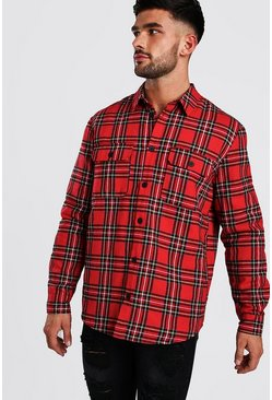 Long Sleeve Quilted Check Shirt, Red