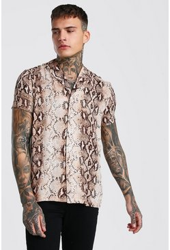 Brown Snake Print Short Sleeve Shirt