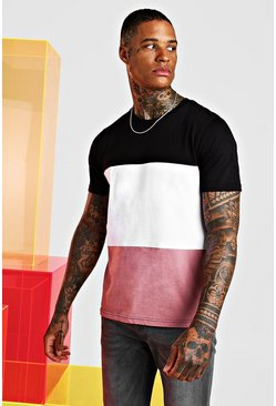 Mauve Colour Block T-Shirt