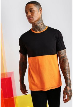 Orange Colour Block T-Shirt