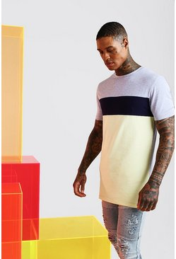 T-shirt long color-block coupe moulante, Jaune
