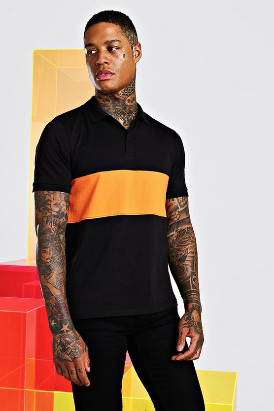 Orange Colour Block Polo