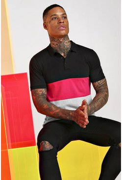 Pink Colour Block Polo