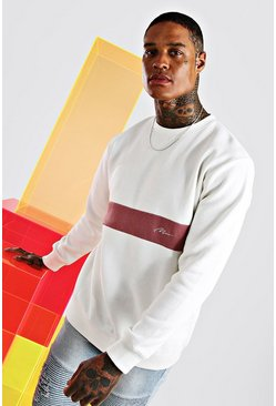 Ecru MAN Signature Sweatshirt med blockfärger