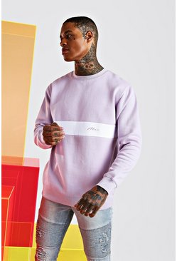 Man Signature Colour Block Sweatshirt, Lilac