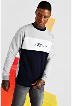 Grey marl Man Signature Colour Block Sweatshirt